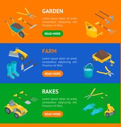 garden tools 3d banner horizontal set isometric vector image