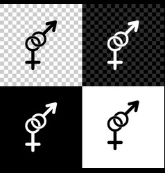 Gender icon isolated on black white and vector