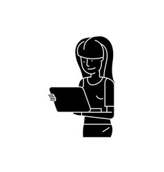 girl watching movie on tablet black icon vector image