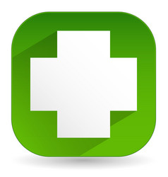 green cross icon with diagonal shadow - white vector image