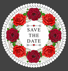 hand drawn rose save the date circle frame vector image