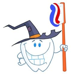 Happy Smiling Halloween Tooth With Toothbrush vector image