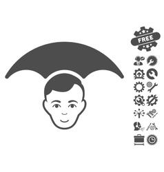 Head Umbrella Icon With Tools Bonus vector
