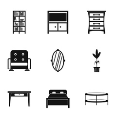 Home furniture icons set simple style vector
