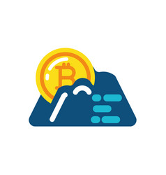 isolated bitcoin and mountain design vector image