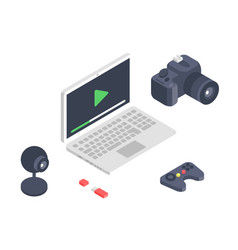 isometric gadget computer devices icons vector image