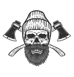 Lumberjack skull with crossed axes design element vector
