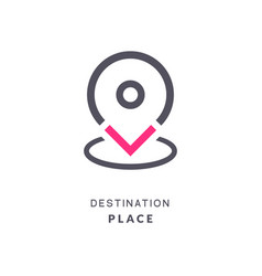 Map pin destination icon gps place sign flat vector