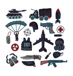 military and army flat icon set vector image