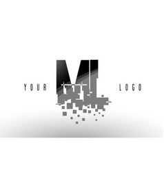 ml m l pixel letter logo with digital shattered vector image