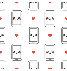 Mobile phone emoticons with red hearts pattern vector