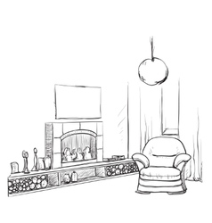Modern interior room sketch Hand drawn fireplace vector