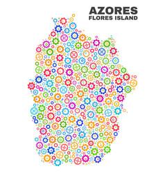 Mosaic flores island azores map cogwheel vector