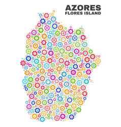 Mosaic flores island of azores map of cogwheel vector