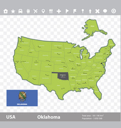 oklahoma flag and map vector image
