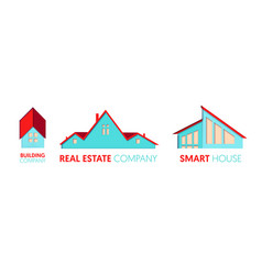 Paper cut out logo set with private houses vector