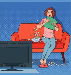 pop art woman watching a horror movie at home vector image