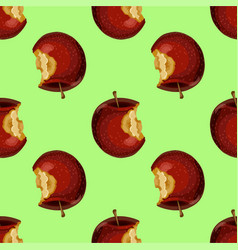 Red apple while core half seamless pattern vector