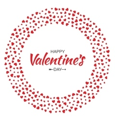 Red Hearts Circle Frame Valentines Day Card vector image