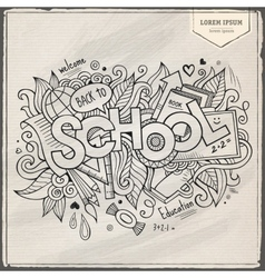 School hand lettering and doodles elements vector