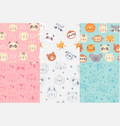 seamless animals faces pattern cute animal heads vector image
