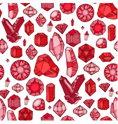 seamless pattern with gems and diamonds vector image