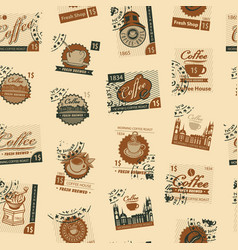 Seamless pattern with postmarks on coffee theme vector