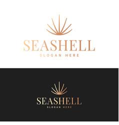 seashell logo icon sea shell on black and white vector image
