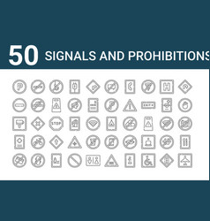 Set 50 signals and prohibitions icons outline vector