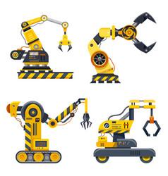 Set machine hands industry icons vector
