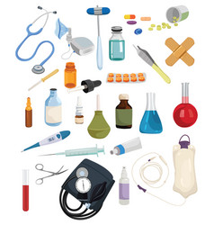 set medical drugs and tools collection of vector image