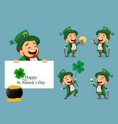 set of cartoon funny leprechaun vector image
