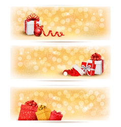 Set of holiday christmas banners with gift boxes vector