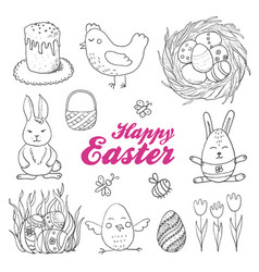 set of isolated easter eggs and twigs vector image