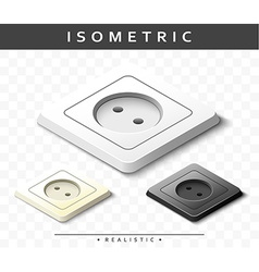 Set of realistic electric outlets in isometric vector image vector image