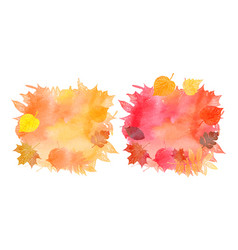 Set of watercolor backgrounds of autumn leaves vector