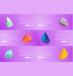 Set of web posters gemstones webpages ppush button vector