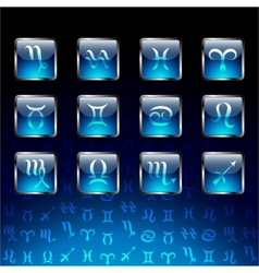 Signs of zodiac on glossy icons vector