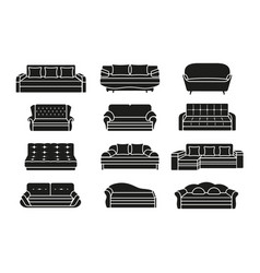 silhouette icon sofa set collection furniture vector image