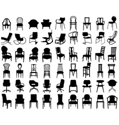 Silhouettes different chairs vector