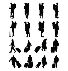 Silhouettes of travelers vector