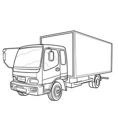 sketch a big truck coloring book isolated vector image