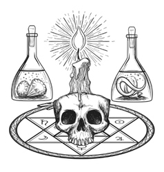 Skull with candle alchemy elements vector image
