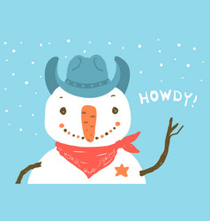 Snowman in western cowboy hat merry christmas vector