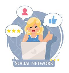 socila network online laptop cute girl flat design vector image