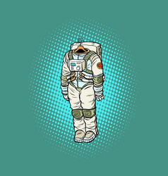 Spacesuit astronaut hanging on a hanger vector