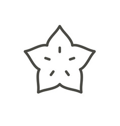 Starfruit icon outline tropical fruit lin vector