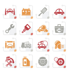 Stylized car service maintenance icons vector