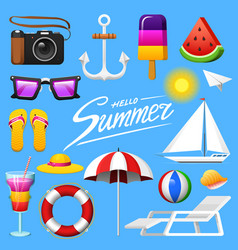 summer set - camera and anchor ice cream and vector image