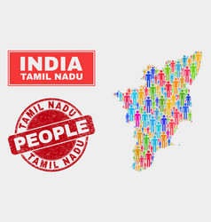 tamil nadu state map population demographics and vector image